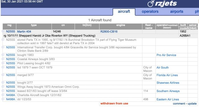 Pro Air Martin 404 N255S History