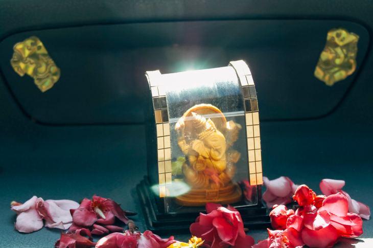 Ganesha shrine on our taxi driver's dashboard