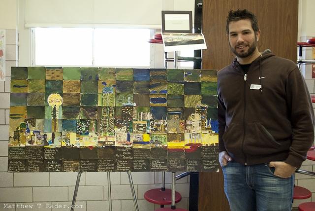 Matthew T Rader with Lakewood Elementary Dallas Skyline Painting