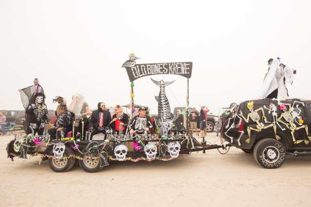 Old Bones Krewe float at the Mardi Gras Padre Island beach parade