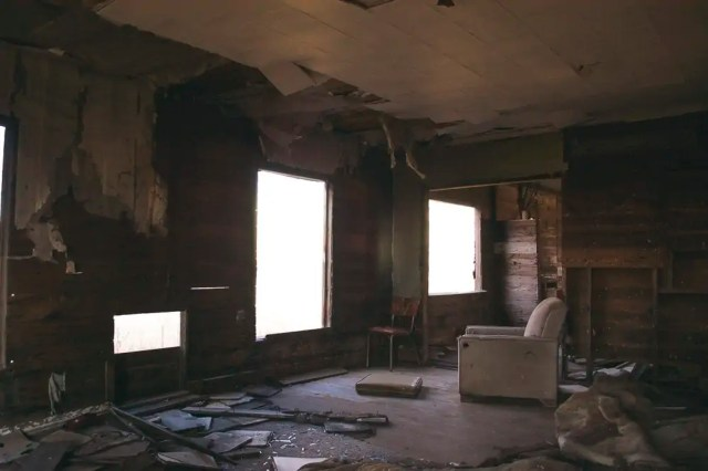 The inside of an abandoned home