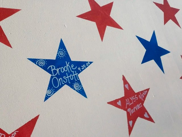 Stars with names painted on the walls, Brooke Onstott