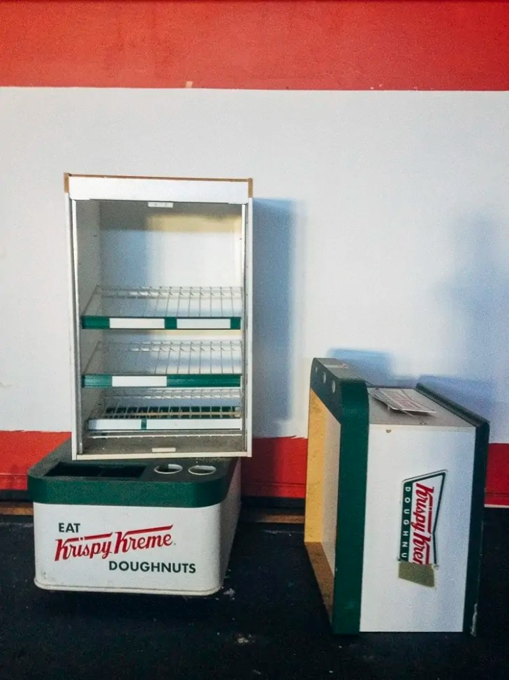 Krispy Kreme display in an Abandoned Dance Studio