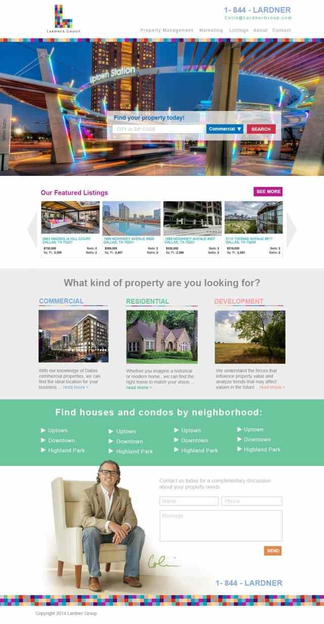 Modern And Colorful Website Design For A Dallas Real Estate Company