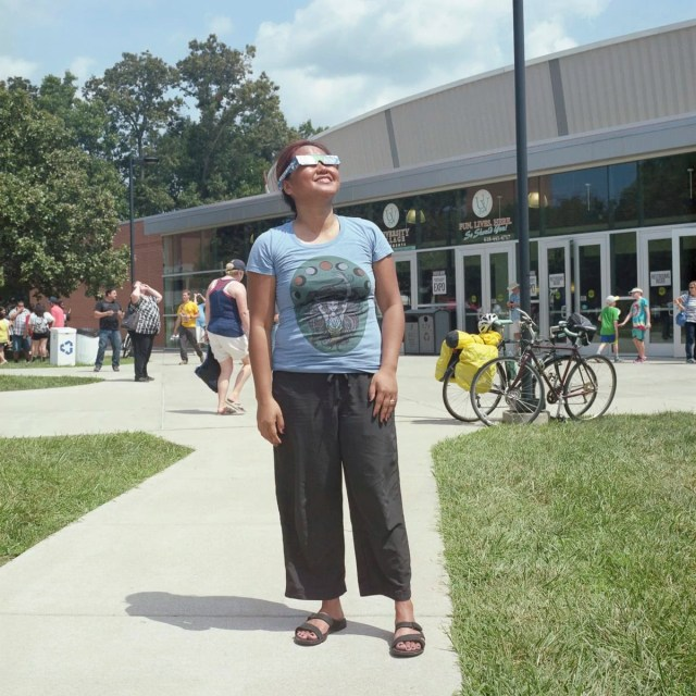 An analog portrait of a woman watching the solar eclipse at SIU in Carbondale, Illinois