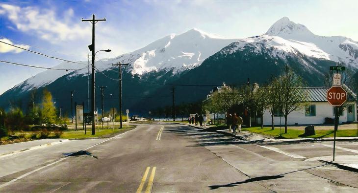 Mountain and street in Juneau Alaska