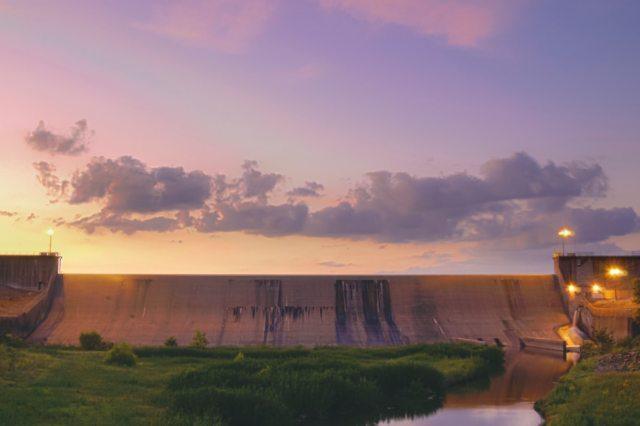 Lake Tawakoni Iron Bridge Dam at sunset
