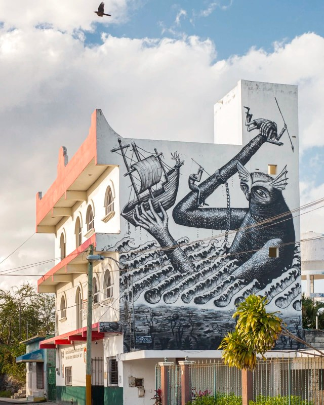 A mural of a sea monster in Cozumel, Mexico