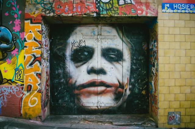 Joker Graffiti on Hosier Lane, Melbourne
