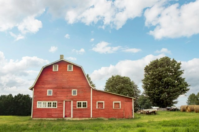 An old Dutch-style gambrel barn in in Martin Township