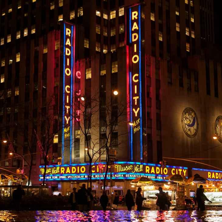 Radio City at night in NYC
