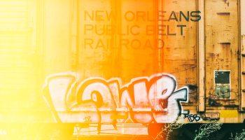 Graffiti on an abandoned rail car in Addison, Texas