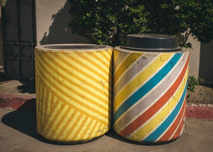 Colorful trash cans at Ocean Beach, San Diego