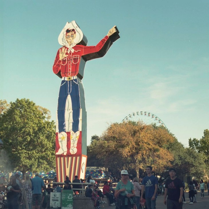 The old Big Tex neon sign during the day