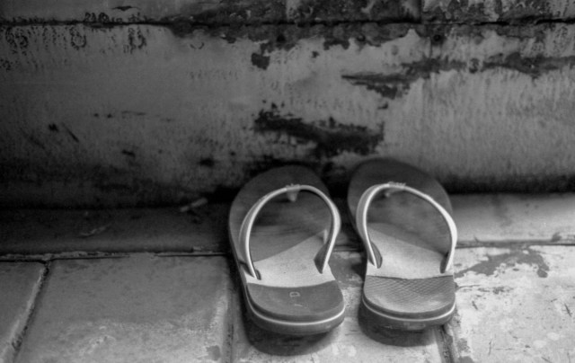 Sandals in an abandoned boxcars