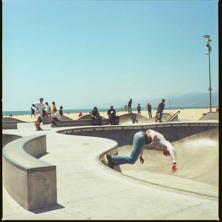 Skateboarders at the Venice Beach skatepark