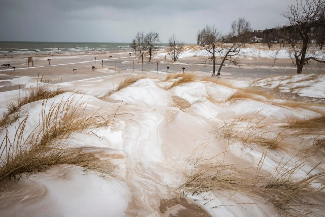 Holland State Park Beach with snow