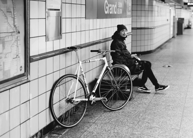 A bicyclist at the train station in Chicago