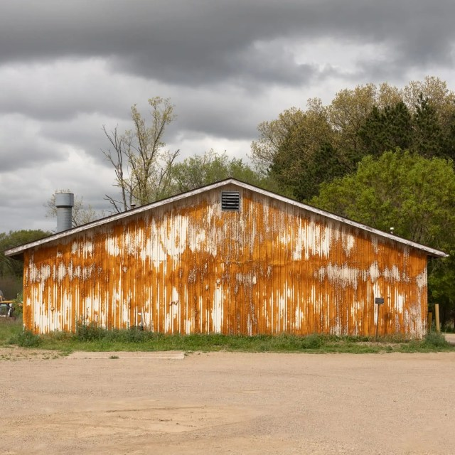 An old barn with insulation all over the walls in Martin, Michigan