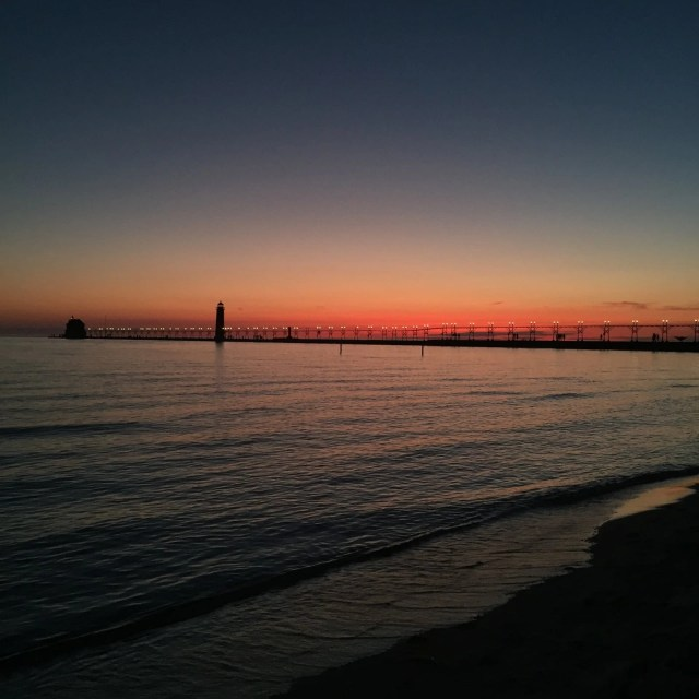 Grand Haven Beach At Sunset