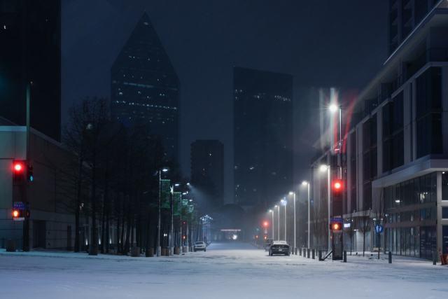 Dallas arts district at night