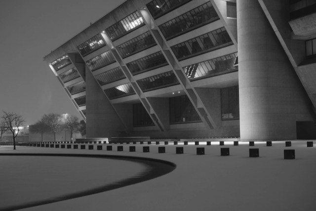Dallas City Hall at night in the 2021 snowstorm