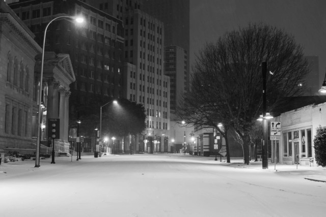 Downtown Dallas at night in a snowstorm