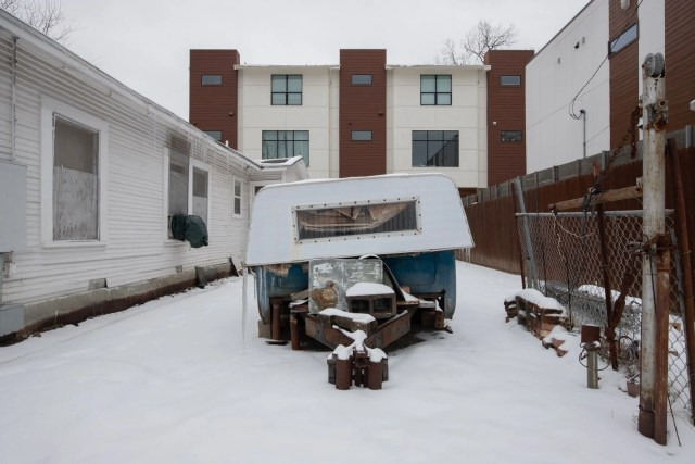 A camper in the snow