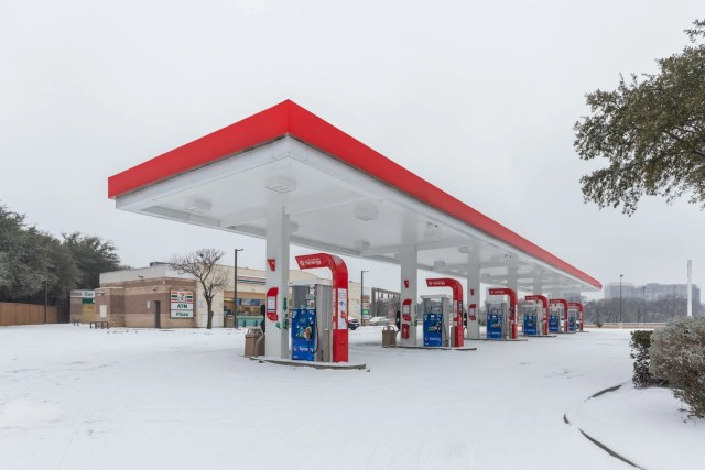 Lemmon Ave gas station on a snowy day