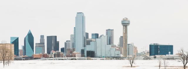 Dallas Winter Storm 2021 Dallas Skyline with snow
