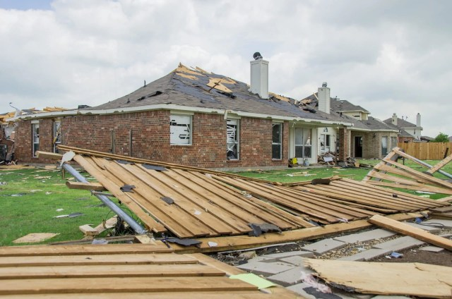 Destruction caused by the Forney tornado
