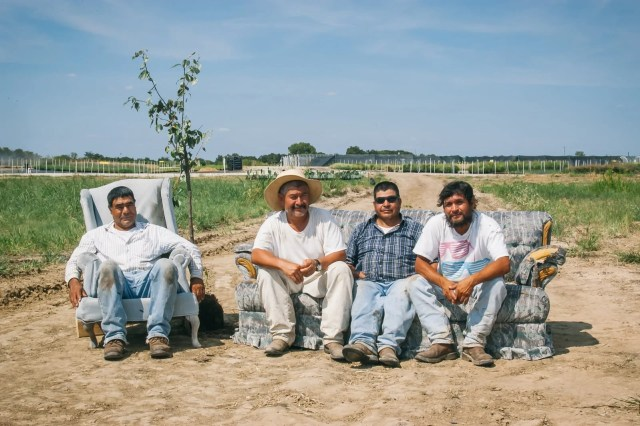 Migrant farmworkers on a tree farm in East Texas