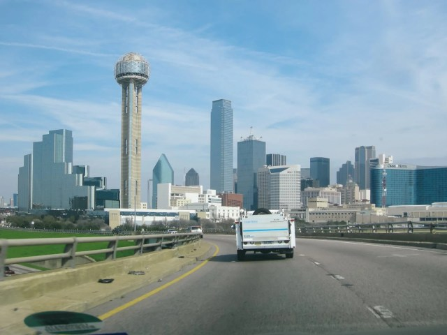 The Dallas skyline while commuting