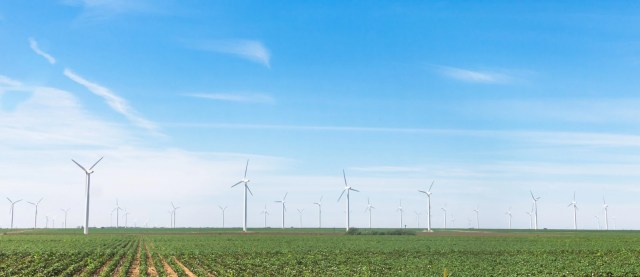 Hundreds of wind turbines in West Texas