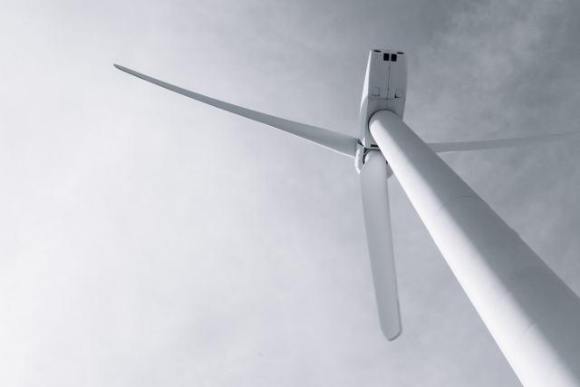 Upward perspective of a wind turbine