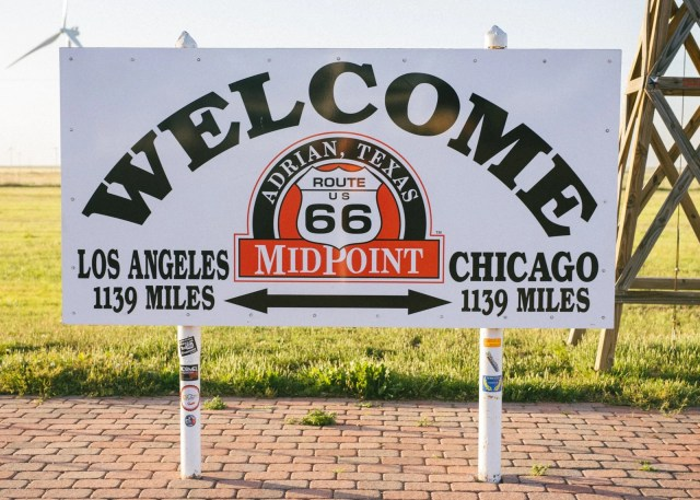 Route 66 Midpoint sign between Chicago and Los Angeles