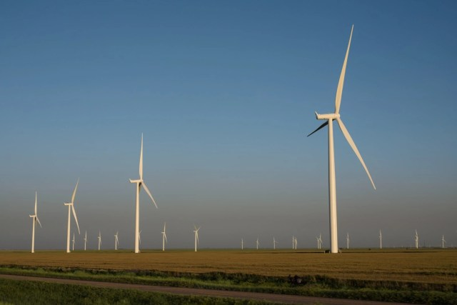 A wind farm in West Texas of off Historic Route 66