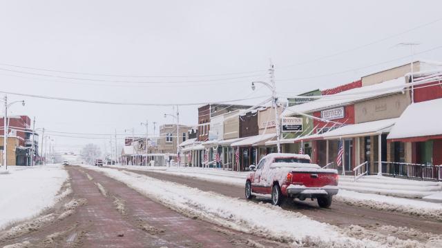 Downtown Wills Point, Texas in Snowmageddon 2010
