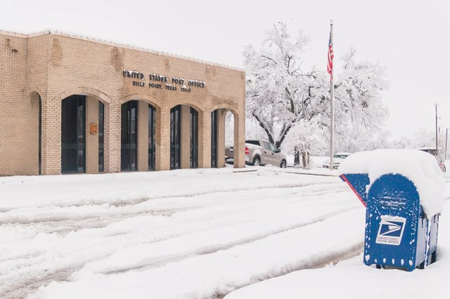 Snow covered US Post office