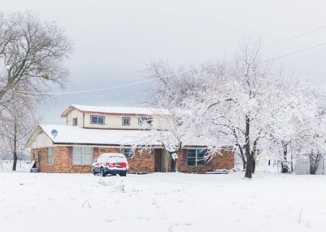 My house covered with Wills Point snow
