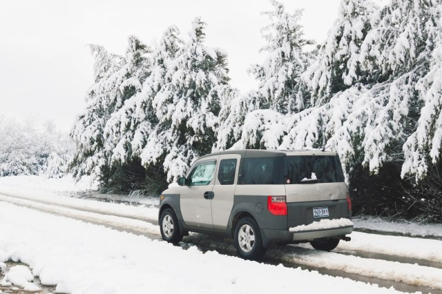 Honda Element driving in the snow