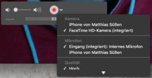 Die Option zur Auswahl der Aufnahmequelle versteckt sich unter dem kleinen v-förmigen Symbol rechts neben dem Aufnahmeknopf. Bild: Screenshot von Quicktime.