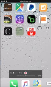 Ist als Quelle erst einmal das iPhone ausgewählt, wird dessen Bildschirm unmittelbar darauf auf dem Mac-Monitor angezeigt. Bild: Screenshot der iPhone-Übertragung mit Quicktime.