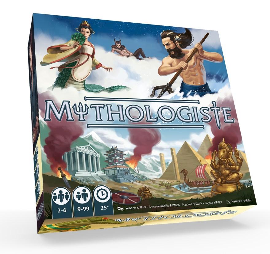 vue 3d de la boite du jeu Mythologiste, illustré par Matthieu MARTIN
