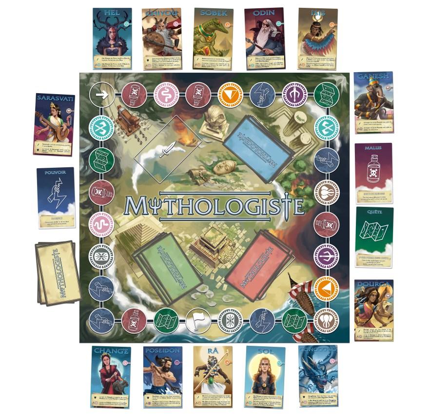 vue à plat du plateau et cartes du jeu Mythologiste, illustré par Matthieu MARTIN
