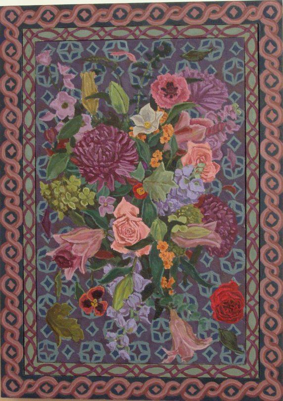 flowers in diamond pattern