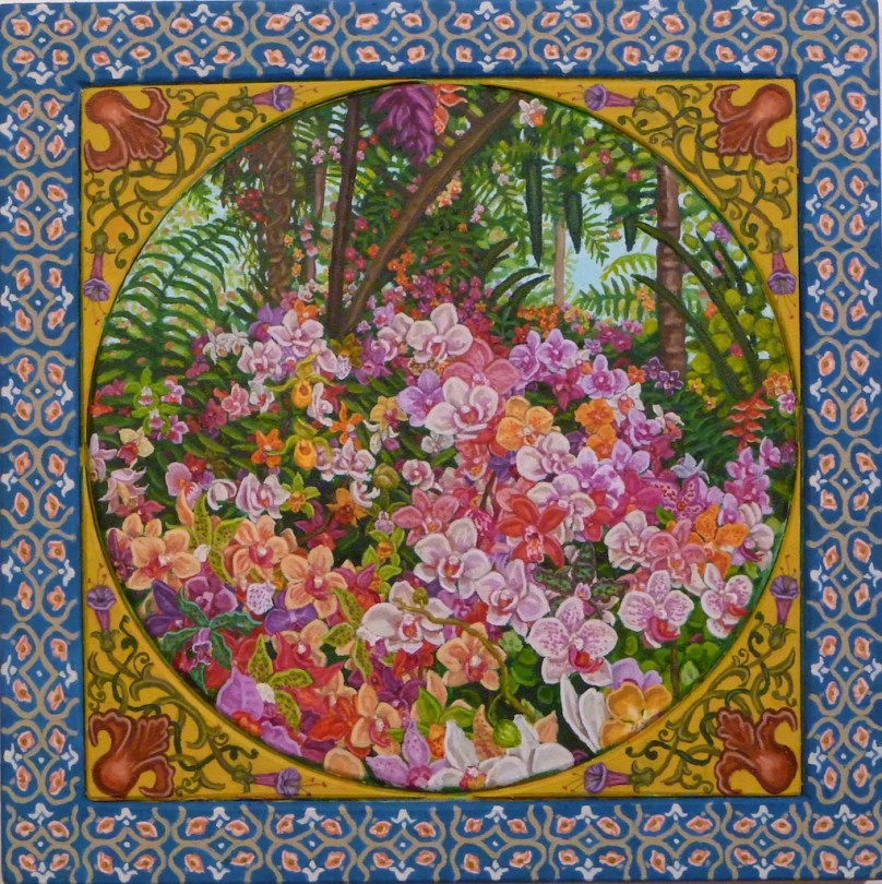painting filled with orchids
