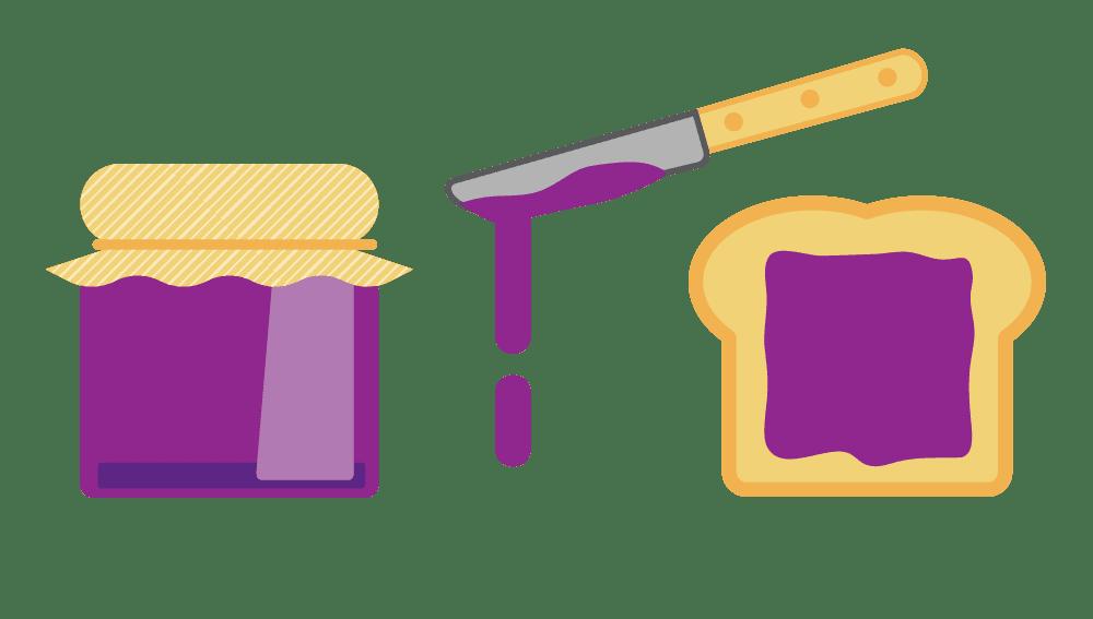 Illustrated gaphic of toast and jam