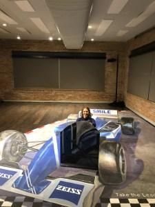 Perspective chalk racing car