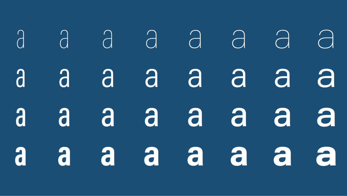 Acumin variable font letter a, just a few instances